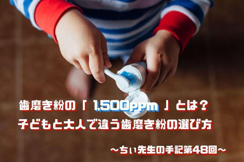歯磨き粉の1500ppmとは子どもと大人で違う歯磨き粉の選び方ちぃ先生の手記第48回